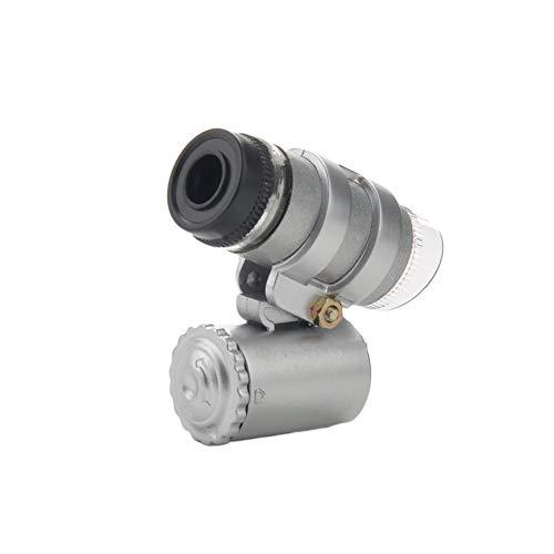 Ogquaton Mini microscopio 45X con luce, 2 microscopi per gioielli tascabili a LED con custodia in pelle in PVC per timbri di oggetti d'antiquariato e altro Argento resistente e utile