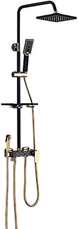 ZQDL 4-in-1-Vollkupfer-Brausegarnitur mit Einstellbarer Viergangdüse 8-Zoll-Brausehalter mit Einstellbarer Hhe und Duschbrause