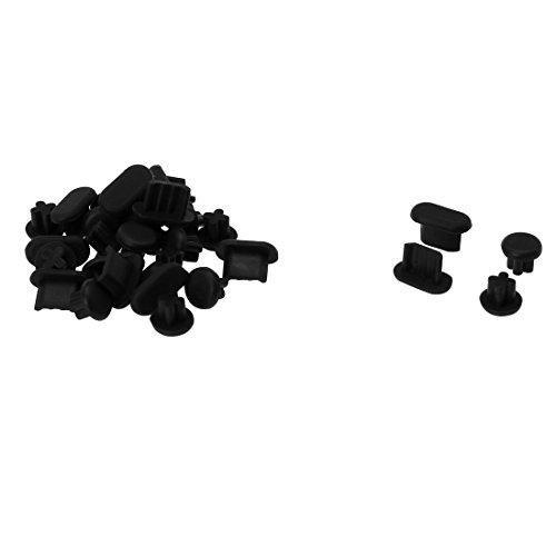 sourcing map Teléfono Micro USB+3.5mm Auriculares contra el Polvo Tapón De Conector Cubierta De Negro 15sets