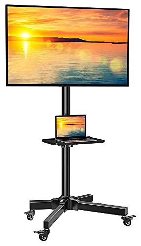 Carro de TV móvil para televisores de 23 a 55 pulgadas, soporte de TV para carrito de TV de pantalla plana curvada con estante ajustable (color negro)