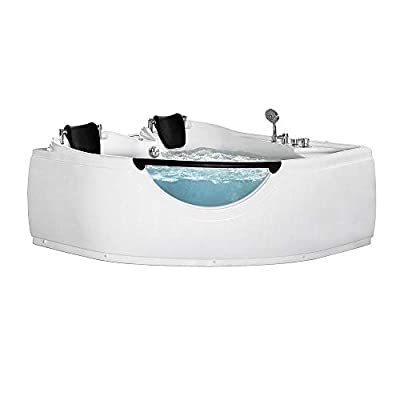 ARIEL Platinum BT150150P Whirlpool Bathtub in White with Hydro-Massage 15 Whirlpool Jets and Adjustable Air Bubble Infusion 82.4 Gallon Water Capacity