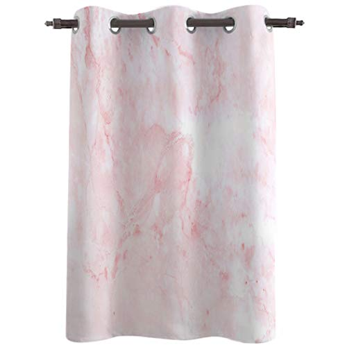 Really Blackout Curtains with Grommet Window Treatments Drapries, Pink Marble Sunlight Darkening Panels for Bedroom/Living Room 52''W x 52''L, Nature Granite Marble Texture