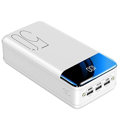 Cargador Portátil Power Bank 50000Mah, Paquete Baterías Ultra Compacto Cargador Alta Capacidad 3 Salidas Cargador Rápido Móvil Con Pantalla LED Y Linterna Para Iphone, Android, Ipad, Tableta,Blanco