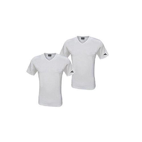 Diadora 2 t-Shirt Uomo Scollo a Punta Cotone Interlock Art. 6062 Maglia Mezza Manica (4/M, Bianco)