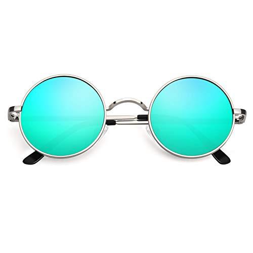 CGID Retro Vintage Sonnenbrille, inspiriert von John Lennon, polarisiert mit rundem Metallrahmen, für Frauen und Männer Verspiegelt Silber Grün E01