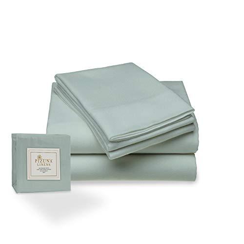 Juego de sábana de 400 conteo de Hilos, 4 Piezas de 100% algodón de Fibra Larga, Lujoso Suave Saten Conjunto de Hojas, 1 sábana Adjustable, 1 sábana Plana, 2 Fundas de Almohada (Sabio - Cama 135cm)