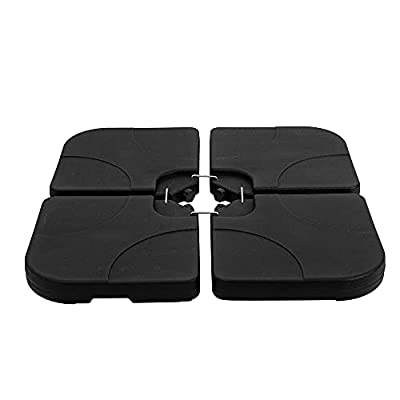 Sundale Outdoor 4 Pieces Water Sand Cantilever Umbrella Base Stand, Heavy Duty Plastic Patio Offset Umbrella Weights, 110/132LBS, Black