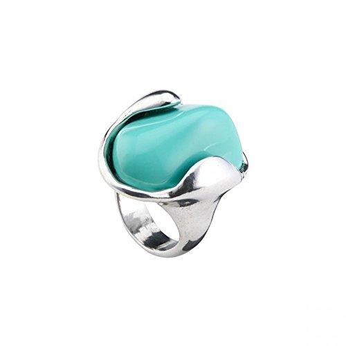 Uno de 50 ANI0552AZU Tarifa Anillo de Mujer Baño de Plata Resina azul Talla L