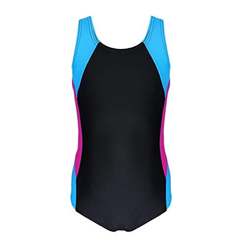Aquarti Mädchen Badeanzug mit Ringerrücken, Farbe: Schwarz/Amarant/Türkis, Größe: 140