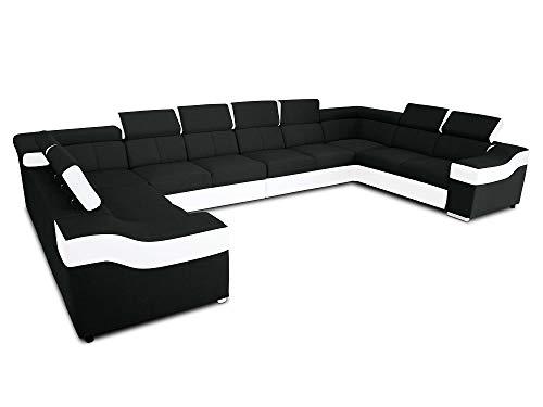 Sofá en Forma de U, 10 plazas, XXXL - Paris (Negro/Blanco)