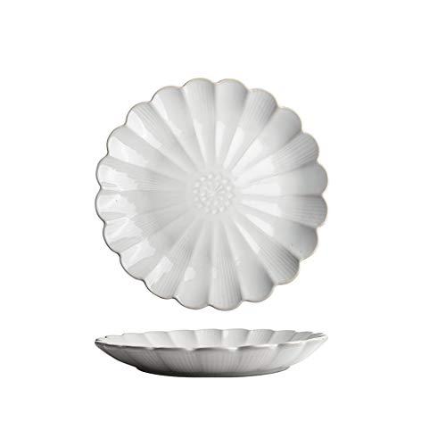 TXC- Keramisch tafelgerei plaat schotel plaat Startpagina Creative Net Rode fruitschaal Westelijk Voedsel Plate Dumpling Plate Duurzaam (Color : White, Size : 25cm*25cm)
