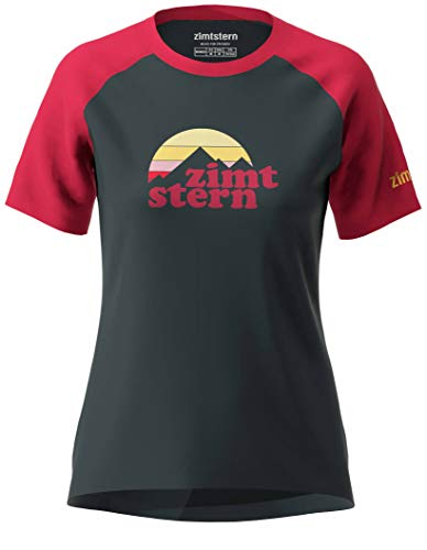 Zimtstern Damen Sunsetz Tee WMNS T-Shirt, Pirate Black/Jester Red, XL