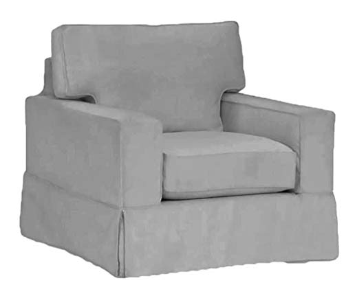 The Cotton Sofa Chair Cover Only Fits Pottery Barn PB Comfort Square Arm Armchair. A Durable Chair Slipcover Replacement (Square Arm Box Edge)