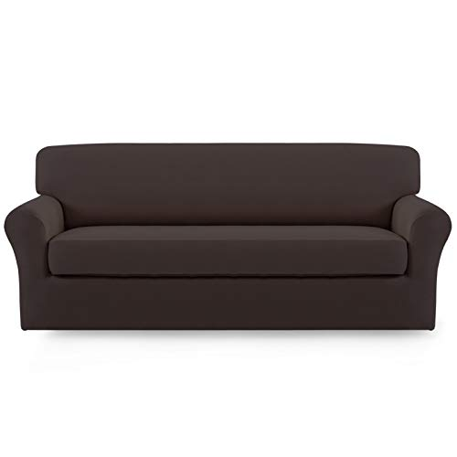 Easy-Going 2 Pieces Microfiber Stretch Sofa Slipcover – Spandex Soft Fitted Sofa Couch Cover, Washable Furniture Protector with Elastic Bottom Kids,Pet (Sofa, Chocolate)