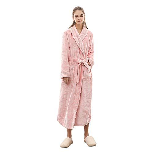 JOYKK Unisex winterwarm flanel badjas wafel dik koraal fleece lange kimono robe