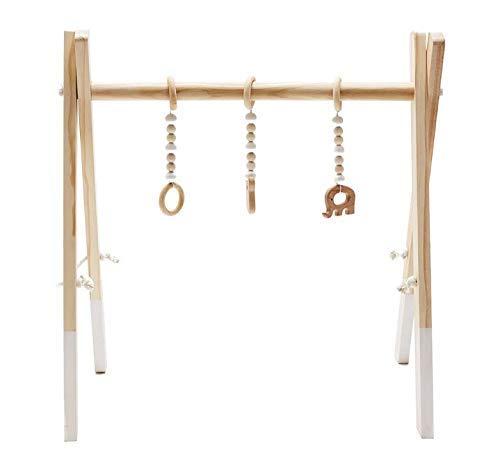 Holz Baby Gym, Marbeine Holz Kleinkind Fitness Rack Baby-Fitnessstudio Hölzernes Trainingsgerät Baby Fitness Rahmen+3PCS Anhänger(Zufälliger Stil) (Weiß)
