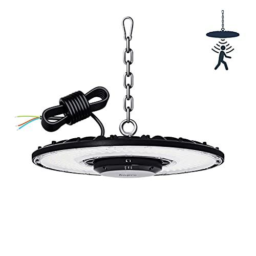 100W Campana LED Industrial UFO con Detección Radar, 10000LM Focos LED Industrial UFO 6000K Blanca Fría LED Iluminación Interior, Ultrafino Lámpara Alta Bahía Lámpara Industrial con Sensor Movimiento