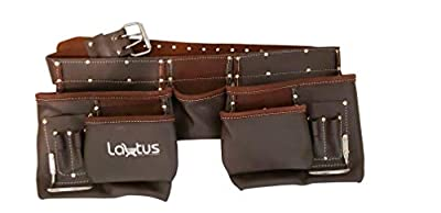 LAUTUS Oil Tanned Leather Tool Belt/Pouch/Bag, Carpenter, Construction, Framers, Handyman, Electrician - 100% LEATHER from LAUTUS