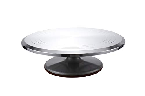 12 Cake Decorating Turntable for Cakes and Desserts. Aluminum Alloy Construction with Smooth bearing and Non-slipping Silicone Bottom.
