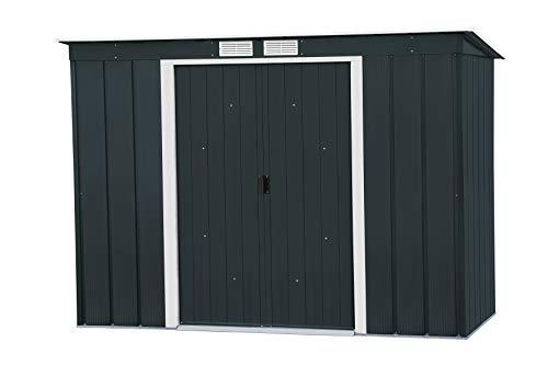 Duramax ECO Pultdach 8 x 4 feuerverzinktes Metall Gartengeräteaufbewahrung Schuppen Anthrazit mit cremefarbenen Verzierungen