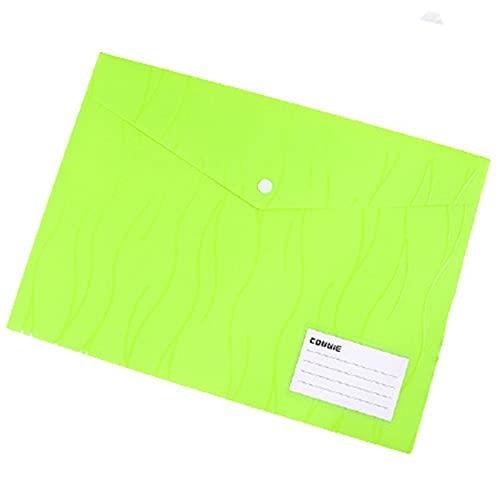 Lopbinte Buste Buste in Polietilene, Confezione da 12 Buste per Documenti US Letter A4 Buste per File con Tasca per Etichette con Bottone A Pressione Verde