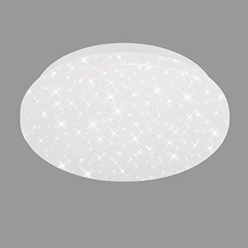 Briloner Leuchten - Plafoniera LED 3388-016, fantasia a stelle, Luce bianca 4000K, LED integrati 8W 900Lm, Ø22cm, Lampadario per camera o soggiorno, Lampada da soffitto bianca rotonda, plastica