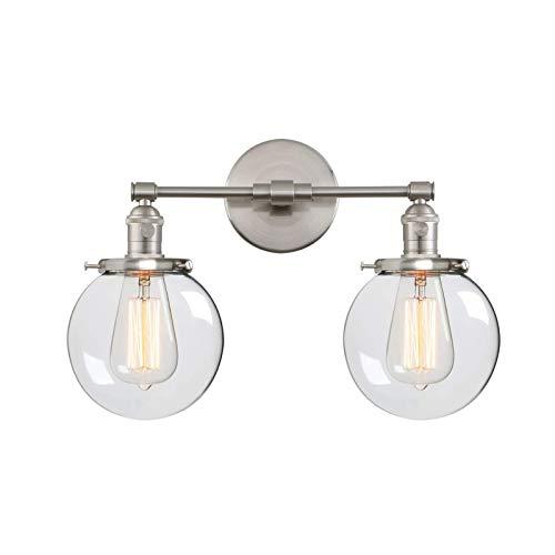 YXNKK E27 Lámpara de Pared Vintage, Aplique de Pared Industrial Retro, Luces de Pared Cocina Interior Luz de Pared Corredor 3 Cabezas Lámpara Clásica con Pantalla de Vidrio para Baño,Cromo,43CM