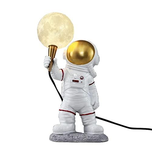 Astronaut starlight, 3D-printharsmaan, LED-bureaulamp, astronaut-desktopdecoratie, warm licht, USB-energiebesparing…