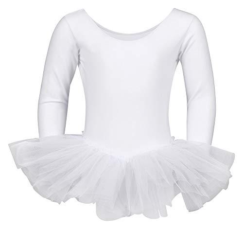 tanzmuster ® Ballettkleid Mädchen Langarm - Alea - (Größe 92-170) Tutu aus weicher Baumwolle Ballettbody Ballett Trikot in weiß, Größe 128/134