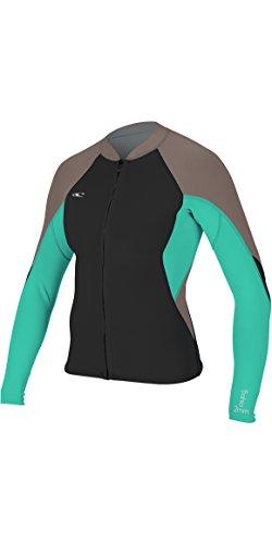 O';Neill Dames Bahia 1 1MM Neopreen wetsuit jas met volledige rits en lange mouw Zwart Capri Breeze Ultraflex