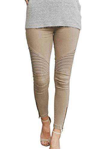CORAFRITZ, Pantalones de salón Informales para Mujer, Pantalones de chándal cómodos con retales de Rayas de Color sólido, Pantalones con Cremallera y Dobladillo Lateral, Leggings