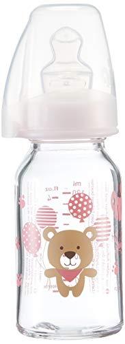 nip Bouteille standard en verre avec tétine en silicone anatomique, 0-6 mois, taille S, 125 ml, fille
