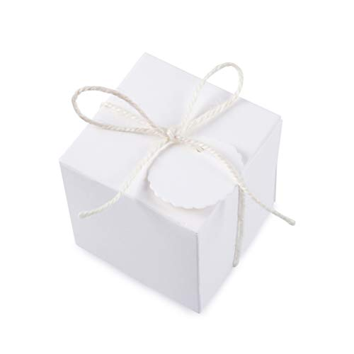 AWELL White Gift Boxes 2x2x2 inch for Candy Treat Gift Wrap Box Party Favor 50pc by MOWO