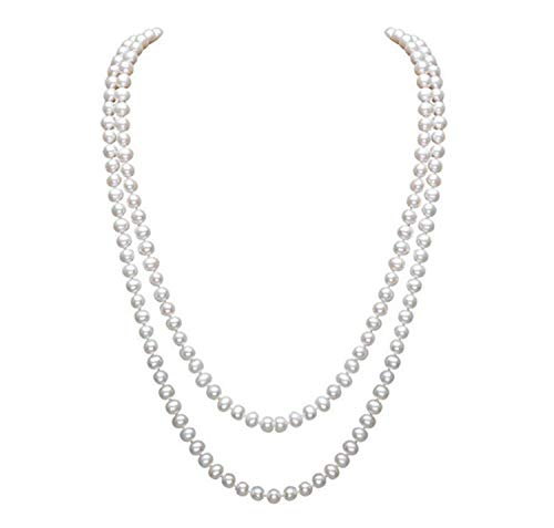 InnoBase 1920s Long Faux Pearl Necklace 1920's Accessories Great Gatsby Charleston Flapper Costume White Drop Pearls Beads Necklaces accessories for Women(Z03)