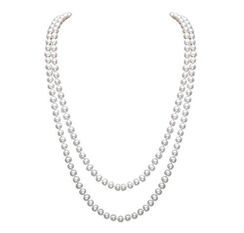 InnoBase Perle Artificiali Charleston Accessori Anni 20 Flapper Moda Collana di Perle di Naturali Finte Lunge Collana di Perle Coltivata di d'Acqua Dolce Bianco da Donna 59'/150cm (Z03)