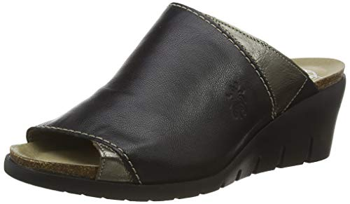 FLY London Women's Wedge Mules, Black Black 000, 39