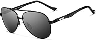 نظارة شمسية كلاسيكية افياتور من الألياف الكربونية، مستقطبة، حماية من الأشعة فوق البنفسجية بنسبة 100%، رمادية