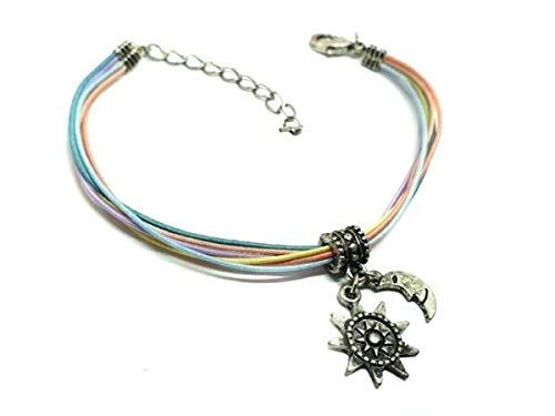 TANAMI Anklets Supplies for Sun and Moon Ankle Bracelet Multicolor Elastic Corded Wrist Anklet Hippy Vibe Great for DIY Jewelry Gift for Women Girls