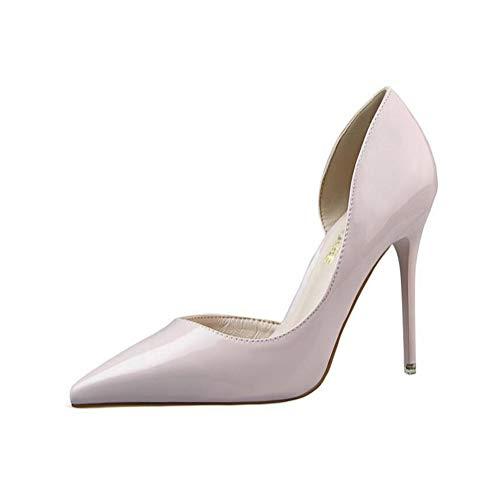 Elegant Damen High Heel Spitz Geschlossene Zehe Bequeme Lack Stilettos Party Büroarbeit Schuhe Pumps Abendschuhe Hellgrau EU 39