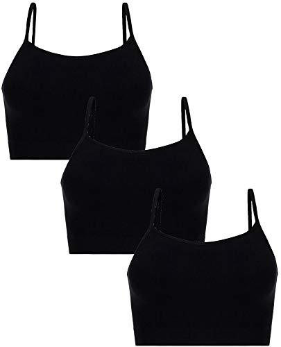 UnsichtBra Damen 3er Set Bustier Top BH ohne Bügel | Mehrpack Spaghettiträger Bralette BH | Frauen Sport Yoga Unterwäsche Basic Büstier Hemd (3 x Schw, M-L)