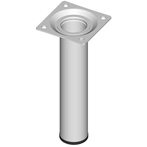 Element System 4 Stück Stahlrohrfüße rund, Tischbeine, Möbelfüße inklusive Anschraubplatte, Länge 15 cm, Durchmesser 30 mm, 4 Farben, 11 Abmessungen, weiß, 11100-00011