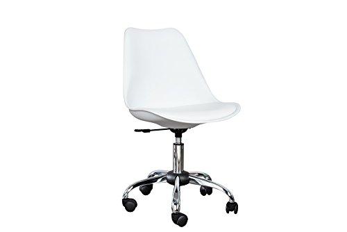 Invicta Interior Retro Designklassiker Bürostuhl Scandinavia MEISTERSTÜCK weiß Stuhl mit hochwertig verchromten Stuhlgestell und Rollen