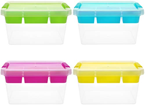 com-four® 4X Aufbewahrungsbox mit Deckel - Stapelbarer Aufbewahrungsbehälter für Bastel-Materialien - Stapelbox mit Klemmverschluss (04 Stück - Farbmix)