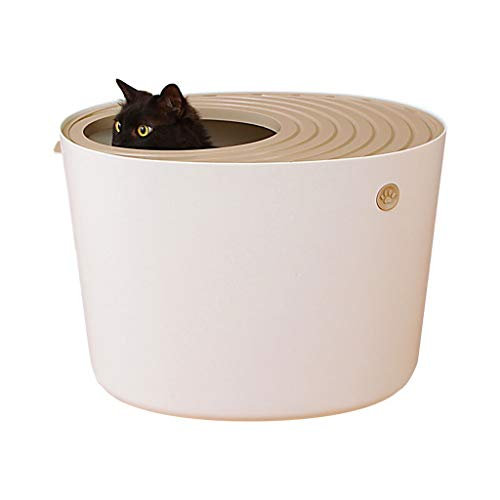 hkwshop Caja de Arena Tridimensional Cat Litter Basin Tipo de Entrada Superior Cat Toilet Large Space Trompeta Grande Cat Sand Pot Suministros para Mascotas Sanitario Gato (Color : White, Size : L)