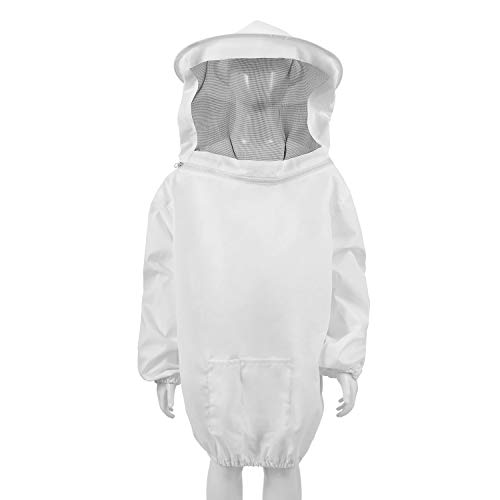 Flexzion Beekeeping Jacket - Premium Beekeeper Pull Over Suit Coat Outfit with Protective Veil Smock Hood for Bee Hive, Beginner & Commercial, Professional Bee Keeper Outfit Supplies, Kids M White