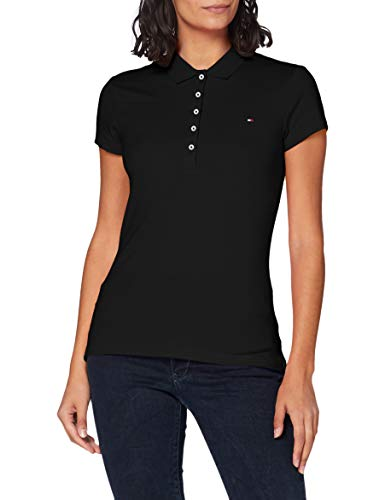 Tommy Hilfiger Damen Poloshirt NEW CHIARA STR PQ POLO Short Sleeve / 1M57636661, Einfarbig, Gr. 40 (LG), Schwarz (017 Masters Black)