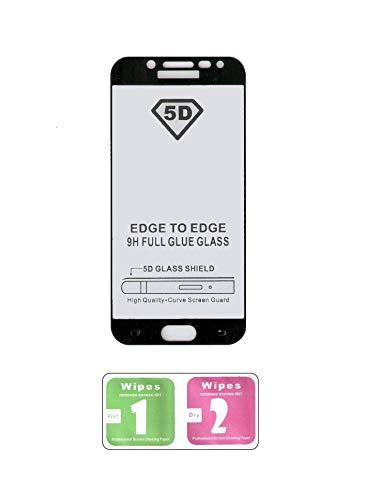 TOP EUROPE – Pellicola Proteggi Schermo Completa Full Glue Vetro Temperato durezza 5D + Digitali con Bordi Curvi 5d in Vetro Temperato HD da 0,3 mm per Samsung J5 PRO 2017 – Nero