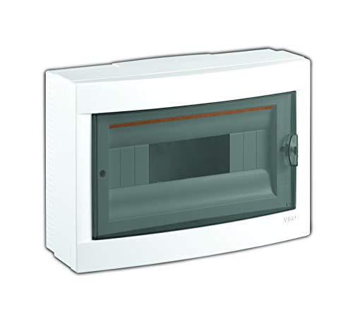 Aufputz Kleinverteiler 12 Module / Sicherungskasten /Verteilerkasten Aufputz IP40, 1-reihig mit Hutschiene + PE/N Klemmen