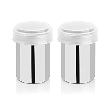 LOHOME® Stainless Steel Fancy Coffee Dredger Cocoa Powder Shaker with Fine-mesh Lid & Translucent Plastic Cover for Baking & Cooking At Home / Restaurant (2-Pieces)