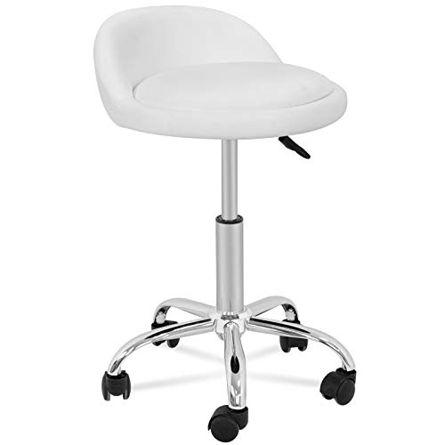 HomGarden Adjustable Hydraulic Rolling Swivel Stool for Massage Salon Office Facial Spa Medical Tattoo Chair Stool w/Backrest Cushion amp Wheels White 1pcs